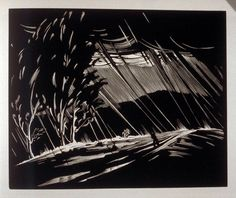 Paul Landacre (American, 1893-1963). Downpour. Plate VIII in the book, California Hills. 1931. (wood engraving)