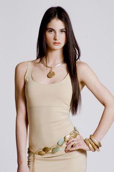 Gold tone mother of pearl pave diamond pendant www.deborahgaspar.com