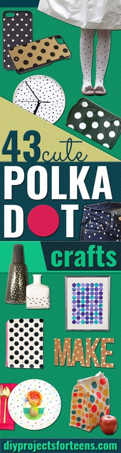 DIY Polka Dot Crafts and Projects - DIY Polka Dot Zip Pouch - Cool Clothes, Room and Home Decor, Wall Art, Mason Jars and Party Ideas, Canvas, Fabric and Paint Project Tutorials - Fun Craft Ideas for Teens, Kids and Adults Make Awesome DIY Gifts http://diyprojectsforteens.com/polka-dots-crafts/