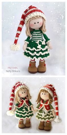 Boy Crochet Patterns, Christmas Crochet Patterns, Christmas Knitting, Doll Amigurumi Free Pattern, Amigurumi Doll, Knitted Dolls, Crochet Dolls, Christmas Elf Doll, Crochet Christmas Decorations
