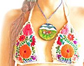 Embroidered crochet Mexican tanning bikini Flower bohemian hippie chic