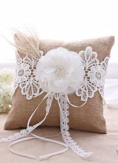 Braun 3D Blumen Bänder Satin Hochzeit Kissen