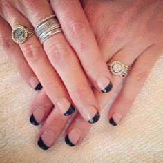 Like this modern take on the French mani.. Black angular tips #frenchtips #manicure #gelnails @modernnailsnwa