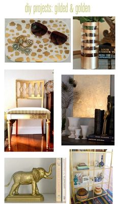 diy gild, diy brass, gold spray paint, fold chair, centsat girl, gold leaf projects, folding chairs
