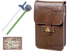 The pouch includes a detailed Hyrule Map peel and stick cleaning cloth, a legendary 3D molded Master Sword stylus and an iconic 3D molded Hylian Shield stylus. The faux leather exterior features the Hylian Royal Family Crest and a shining Triforce symbol as well as a snap-on belt loop. The interior has slots for 2 game card and 2 styluses and is compatible with the New Nintendo 3DS XL, 3DS XL, 3DS, DSi XL, DSi, DS Lite, and original DS.