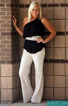 Elan One Shoulder Top with Crochet Detail. Lace Pants. Dress Outfit. Love this Look. NOJ Boutique.