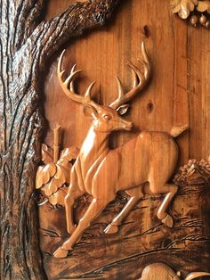 Deer Carved Under Oak Tree with Stained Simple Wood Carving, Dremel Wood Carving, Wood Carving Art, Wood Art, Clay Wall Art, Clay Art, Resin Art, New Door Design, Front Door Design Wood