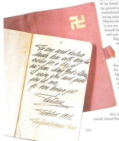 """Tatiana's last Christmas present to her mother was a notebook bound in mauve cloth bearing the Empress 'lucky' symbol,the swatiska.  """"To my sweet darling mama.. May God's blessing be upon you and guard you for ever. Your ever loving girl,Tatiana."""""""