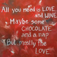 Canvas quote. 12x12 painting about Love Wine and by PaintedSea, $30.00