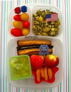 Patriotic voting bento in @Kelly Lester / EasyLunchboxes-bentoriffic plant based vegan lunchbox