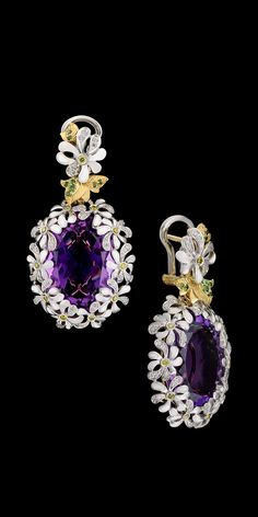 Diamond, Amethyst and Gold Earrings
