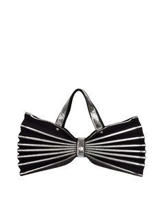 e8a52b5a6c1fa Issey Miyake Vintage Black & Silver Felt Accordion Pleated Bag - from Amarcord  Vintage Fashion
