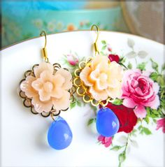 Peach Floral Earrings Peach and Blue Glass Drop by Jewelsalem, $9.89