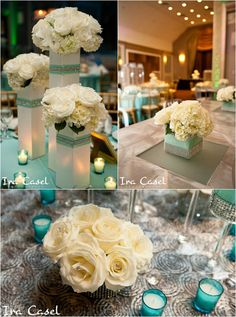 Fill clear round vases with light blue food coloring and water and top with flowers-Pretty Tiffany Blue centerpieces with roses and hydrangeas
