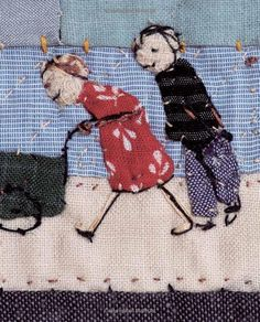 So touching: Fabric Pictures: A Workshop with Janet Bolton - Creating a Textile… Free Motion Embroidery, Embroidery Applique, Embroidery Patterns, Machine Embroidery, Textile Fiber Art, Textile Artists, Fabric Art, Fabric Crafts, Janet Bolton