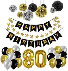 Toupons Birthday Decorations Balloons Birthday Party Supplies Sets Happy Birthday Banner Bunting for Birthday Party Decorations - Black, Gold and Silver 80th Birthday Party Decorations, Happy Birthday Parties, Balloon Decorations Party, 30th Birthday Parties, Happy Birthday Banners, 50th Birthday, Birthday Ideas, Birthday Balloons, Number 50