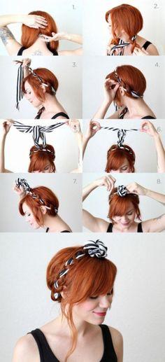 [ Tuto coiffure ] Couronne tréssée avec un foulard .. ♥