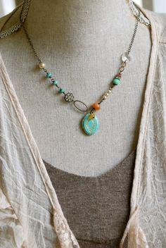 Haley. bohemian beaded locket necklace. by tiedupmemories on Etsy, $38.00