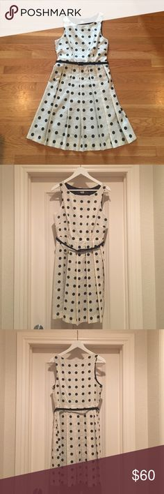 Pretty polka dot dress Eva Franco cream dress with black polka dots with a Black slip underlay and self belt. A classic! Anthropologie Dresses