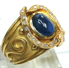 14 K Yellow Gold Artistic 1.00 Carat Cabochon Blue Sapphire & Diamond Ring #Handmade #Cocktail #Anniversary