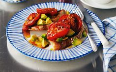 A simple, satisfying breakfast or brunch: gently caramelised tomatoes and ripe avocado on toasted sourdough bread Ripe Avocado, Avocado Toast, Brunch Recipes, Breakfast Recipes, Tomatoes On Toast, Lime Cheesecake, Vegetarian Recipes, Healthy Recipes, Avocado Recipes
