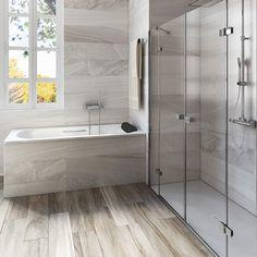 Douche design, installation douche, marie claire maison, walk in shower, ba Walk In Shower, Shower Tub, Modern Bathroom, Master Bathroom, Bathroom Ideas, Roca Bathroom, Bathroom Tubs, Bathrooms, Douche Design