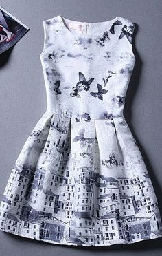 Butterfly printed dress for winter