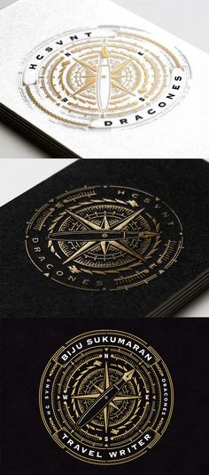 Beautifully Illustrated Gold Foil Business Card Design For A Travel Writer