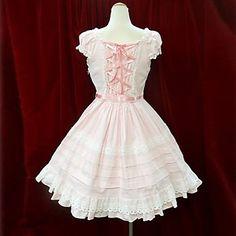 Sleeveless Short Cotton Princess Lolita Dress with Ribbon