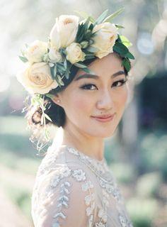 Floral Crown Lauryl Lane | Jen Huang Photo | Wedding at San Ysidro Ranch | Montecito | Santa Barbara | California | Olive Grove | Lavender Field | Anthropologie Wedding Dress | J.Crew Wedding Suit Navy