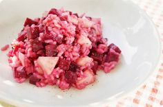 rote beete-risotto mit birne. | obsessed with food.