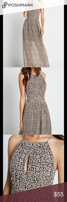 BCBGeneration size 2 Leopard Maxi NWT Beautiful Maxi with halter neckline, banded waistline, fitted through hips. This is an amazing staple piece! BCBGeneration Dresses Maxi