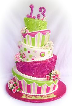Bat Mitzvah - Topsy Turvy cake for today for a girls Bat Mitzvah.   They gave me free reign on the design, only wanted it Topsy Turvy and to match the pink and lime decor.  A couple weeks ago, though, they sent me samples of the table linens and wanted them incorporated...so the lime and pink tiers with the swirled rosettes are a replica of the linens...I added the pearls though.   The order also  will include 13 cupcakes for the candlelighting, and a 10 kitchen cake for extra servings.