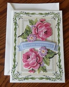 A Handmade BIRTHDAY Card with Anna Griffin Design & Supplies Embellished Roses