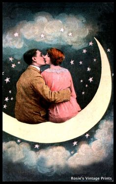 VINTAGE Lovers on a Paper Moon circa 1920 by RosiesVintagePrints, $15.00