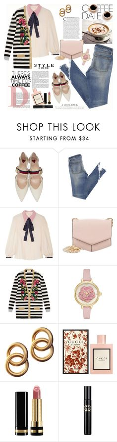 """Cute-but-Casual Coffee Date"" by ellie366 ❤ liked on Polyvore featuring Gucci, Roksanda, Sandro, Laura Lombardi, casual, stripes, bows, gucci and CoffeeDate"