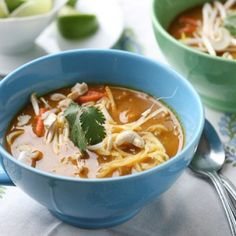 Thai Coconut Curry Soup (Chicken Khao Soi) and more paleo chicken soup recipes on MyNaturalFamily.com #paleo #chicken #recipe