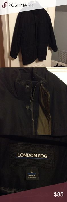 London Fog Black Men's Winter Coat Long, black men's winter coat, worn twice! Super soft outside, polyester and machine washable! Features zipper and snap front closures. Inside there's a waist drawstring to tighten it. Extra lining can be removed (attached with zipper) to make this a multi-season coat! Has deep pockets with Velcro closures. This is a great, timeless jacket for everyday use! London Fog Jackets & Coats Puffers