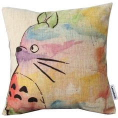 Leaveland Hand Painted Colorful Lovely Totoro Chinchilla Throw Pillow Case Decor Cushion Covers Square 18*18 Inch Beige Cotton Blend Linen
