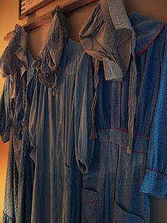 Antique Vintage Textile   dresses and bonnets.... prairie blue...