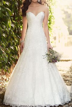 Classic lace A-line bridal gown. Courtesy of the Essense of Australia line.