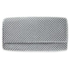 Nina Silver Keiko Clutch ($33) ❤ liked on Polyvore featuring bags, handbags, clutches, silver, black handbags, silver evening handbag, black purse, beaded clutches and silver purse