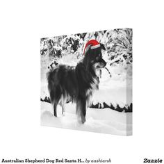 #AustralianShepherd #Dog Red Santa #Hat Oil #Painting #Canvas Print #pet #animal #wallart #wall #decor #christmas