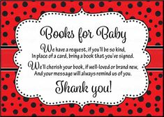 """Baby Shower """"Books for Baby"""" card inserts are a great way to build baby's first library! Simply insert a book card along with each baby shower invitation, and"""