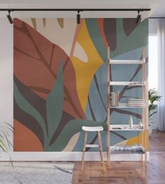 Abstract Art Jungle Wall Mural by thindesign Diy Wall Painting, Painting Frames, Wall Art Designs, Wall Design, Design Art, Modern Small House Design, Shed Decor, Removable Wall Murals, Wall Drawing