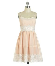 Mod Cloth peach dress. Perfect for a tea party!