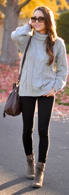 Grey Cable Knit Turtleneck by Hapa Time