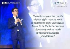 """Do not compare the results of your eight months work to someone's eight years work. Aspire to be the better version of yourself and be ready to receive abundance you deserve. Hello #NWorld Black Saturday reflection: Comparison is the thief of joy. To compare yourself to someone who has been in the public's eye for a long time is like comparing a #startupcompaNy to an already established entity. An old man once advised me on one's success """"sa salamin lang ang tingin 'wag mong ikumpara ang…"""