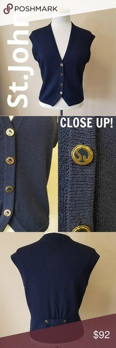 St. John Knits Vest - Navy St. John Knits Santana Knit Vest. 4 buttons, Vneck, Size Small. BASIC Navy. Excellent condition! St. John Tops