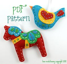 PDF Pattern Felt Dala Horse and Swedish Bird Xmas Ornament Patterns. $8.00, via Etsy.    Could we make something (much simpler for kindergarten hands) like this?